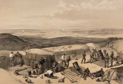 1855 British Gabion Battery for 15-inch mortars, Sebastopol, Crimea