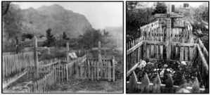 The original graves of Chief Stoker Officer Charles Varcoe (left) and Petty Officer Stephen Gilbert (right)